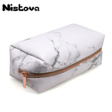 Marble Makeup Bag Portable Cosmetic Travel Storage Bags with Gold Zipper Pencil Case for Women Brush
