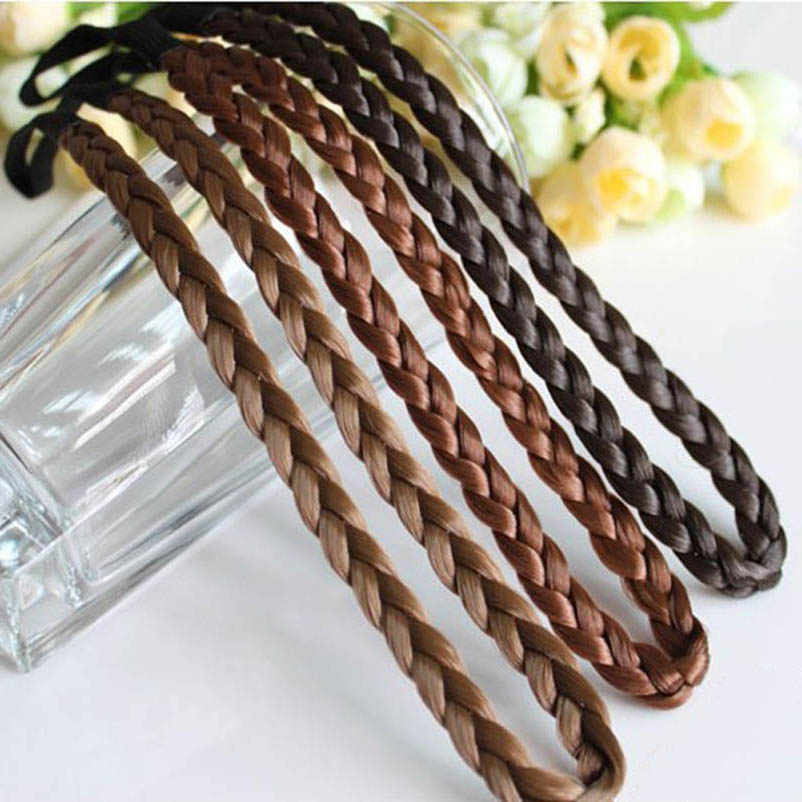 Dark Light Brown Black Wig Hairband Plait Headwear Hair Accessories for Women