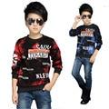 Meninos Da Camisa crianças de veludo quente engrossar crianças roupas de manga longa primavera inverno top camisetas crianças roupas outwear para 5-13 Y