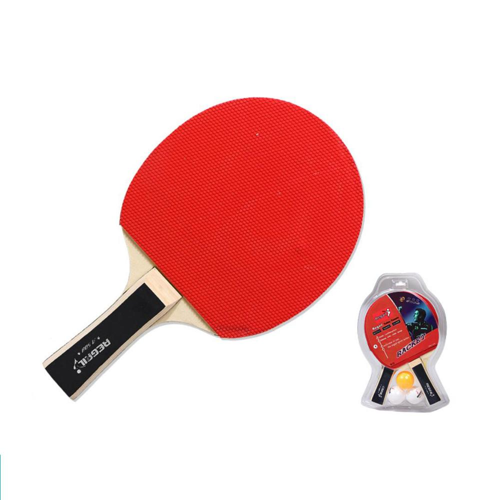 2Pcs Professional Table Tennis Rackets Ping Pong Paddle Training Bat Set With 3 Balls