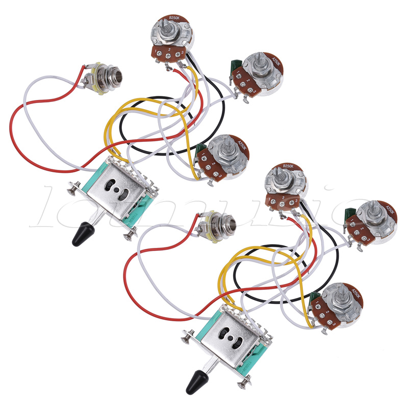 electric guitar wiring harness prewired kit 5 way toggle switch 250k 2t1v  pots for strat parts set of 2-in guitar parts & accessories from sports