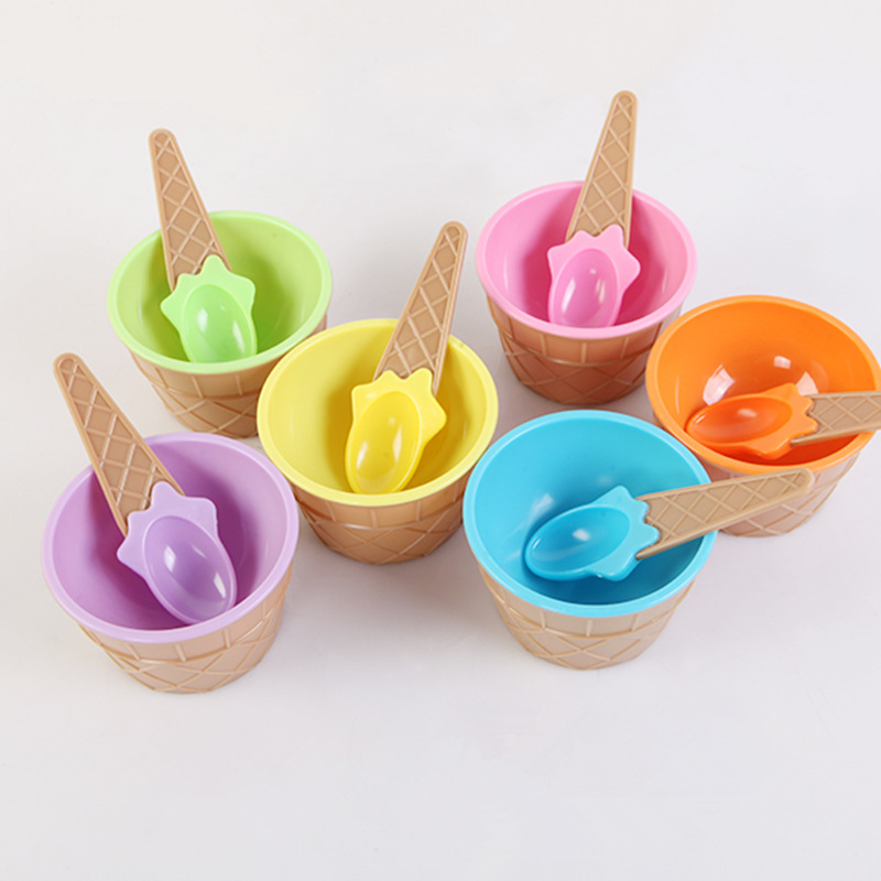 1Set Ice Cream Bowl Spoon Clear/Fluffy Slime Box Popular Kids Food Play Toys For Children Charms Clay DIY Kit Accessories