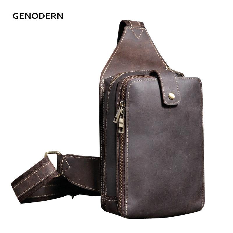 GENODERN Cross Body Chest Bag Crazy Horse Leather Men bags Vintage Chest Packs Retro Sling Bags Zipper Shoulder Bag