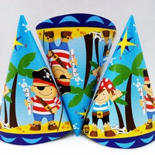 6pcs/set Pirate Caps Theme Party For Kids/Boys Happy Birthday Decoration Supplies Set