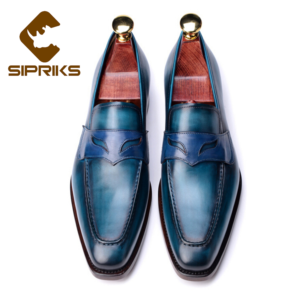 SIPRIKS Brand Men Goodyear Mask Loafers Elegant Unique Mens Blue ...