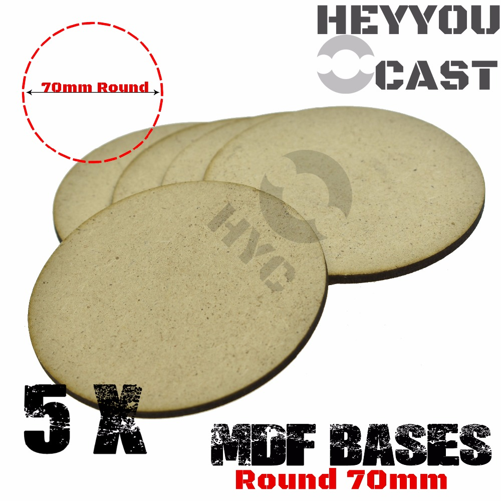 5x MDF Bases - 70mm Round Bases- Basing Laser Cut Wargames Wood