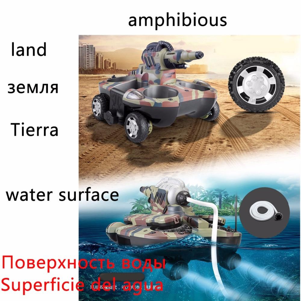 Rc barco tanque anfibio Radio Control juguetes para niños 10 años Rc barco robot Control remoto tanque de plástico la nave de la gota - 3