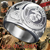 RIR Vintage Gothic Funk Style Cool Men Crusader Flower Ring Motorcycle Silver Stainless Steel Cross Ring