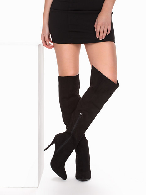 15aa3b16e21 ... Over Knee Stiletto Boot Black Suede Pointed Toe High Heel Boots Loose  Long Boots with Side ...