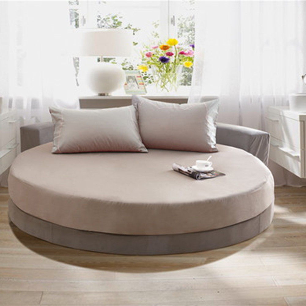 1 Piece Solid Color 100% Cotton Round Fitted Sheet Round Bed Sheet Protection Cover Bedding Round Mattress Topper 200cm 220cm