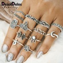 Bohemia Waveing Midi Rings set for Women Alloy Elephant Moon Flower Semi-precious Stones Finger Knuckle Ring 13PCS Jewelry