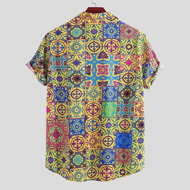 Men Summer Printing Hawaiian Beach Shirt