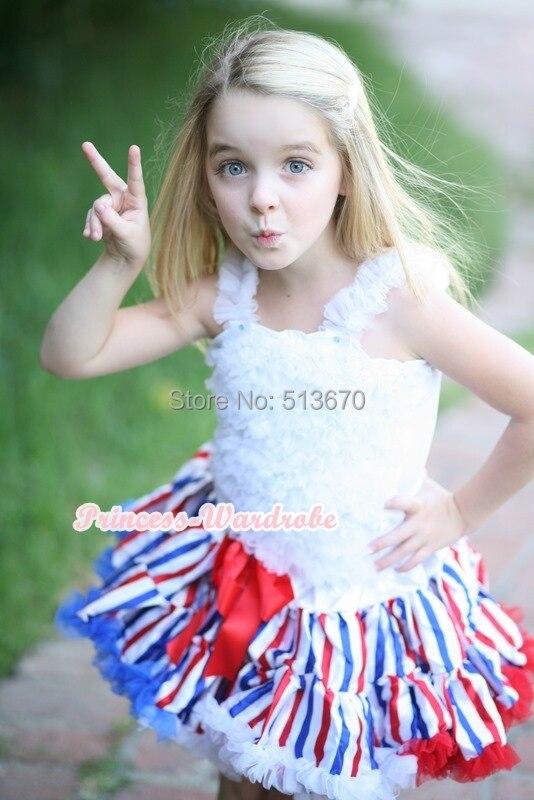 4th July America Flag Style Stripe Pettiskirt White Ruffle Tank Top 2PC Set 1-8Year MAMG1143 4th july america flag style stripe pettiskirt white ruffle tank top 2pc set 1 8year mamg1143