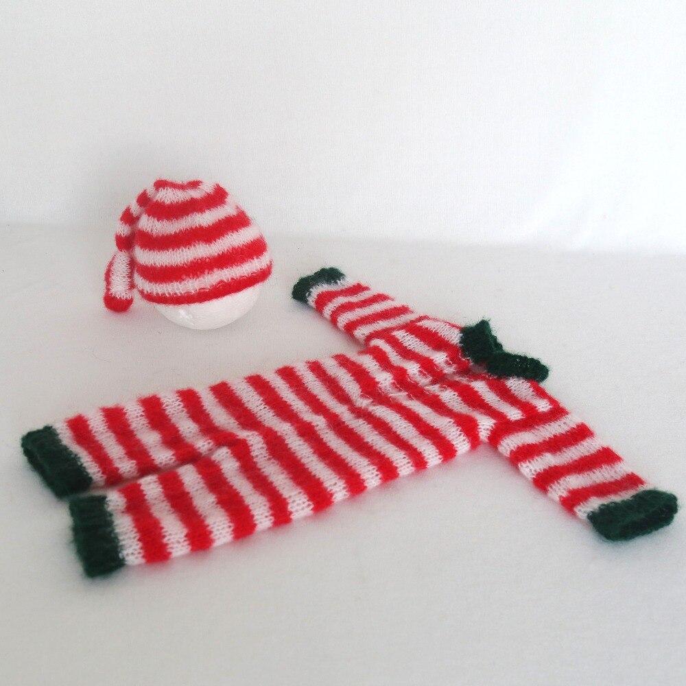 Baby Sleeper Newborn Photography Romper Baby Santa Suit Kitted Christmas Outfit Crochet Newborn Sleepy Hat Infant Bonnet Props