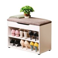 Hall Entryway Storage Bench 2 Tier Shoe Storage Cabinet Linen Top Sofa Style New