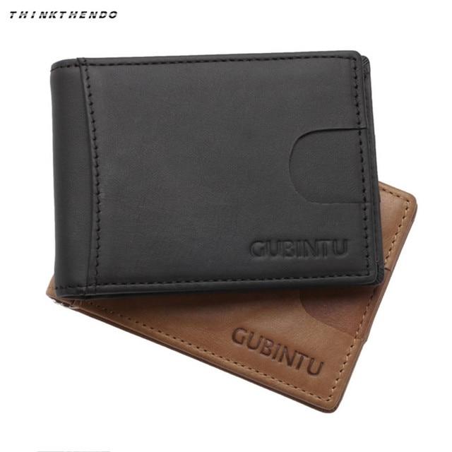 a1114123d911 2018 Men RFID Blocking Minimalist Slim Wallet Crazy Horse Leather Front Pocket  Wallet Genuine Leather Money Clip for Man