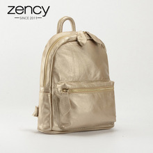 Zency 2018 New Vintage Designer 100% Genuine Leather Women Backpack Female Schoolbag mochila mujer Ladies Travel Bag Light Gold