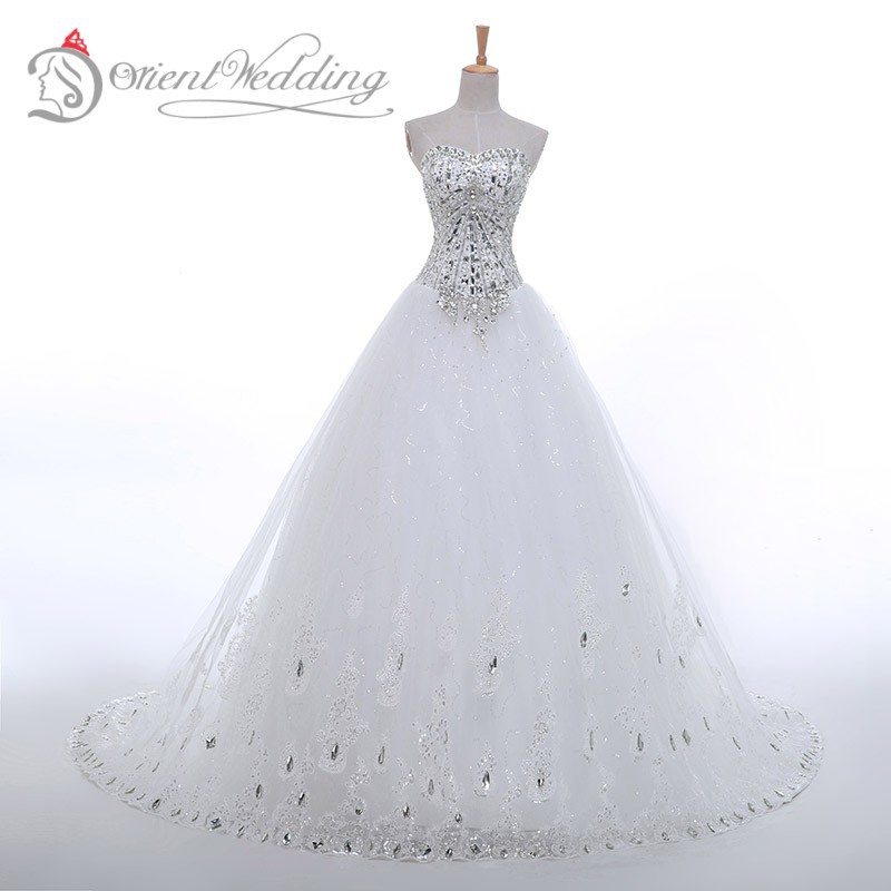 New Design Black Sweetheart Lace Up Crystal Embroidery: In Stock Sweetheart Wedding Dresses White Rhinestone Beads