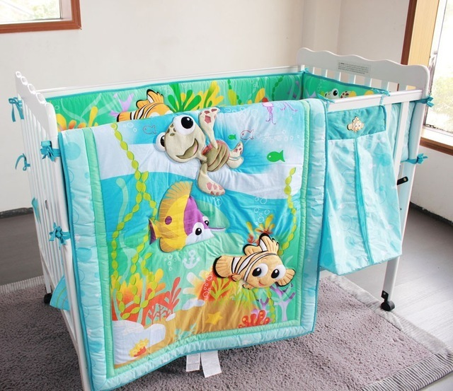 Blue 8 Pieces  stereoscopic ocean world fish hippocampus baby bedding set include Quilt Bumper Skirt Mattress Cover Urine bag