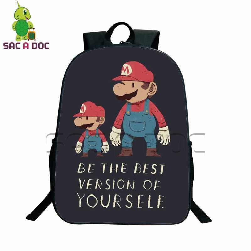 c63c5af7364d ... Classic Game Super Mario Bros Printing Backpack Women Men Daily Backpack  School Laptop Backpack for Teenagers ...