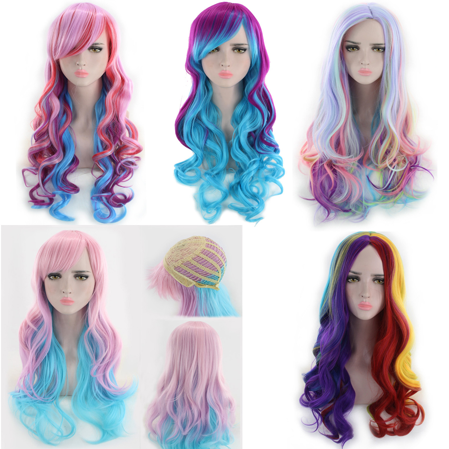High Quality Harajuku Lolita Long Wavy Rainbow Wig With Bangs Synthetic Hair Cosplay Costume Party Colored Wigs For Women 65cm
