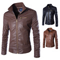 Factory outlets 2016 new men's fashion leather collar fashion Slim men 's leather jacket PU