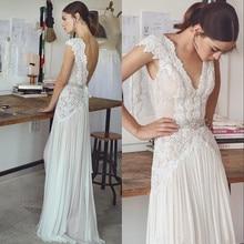 Vintage Boho Wedding Dresses 2018 Bohemian Bridal Gowns Cap