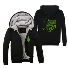 2016 Mens Casual TV Series Green Arrow Oliver Queen Hoodies Fleece Winter Thick Zip up Cotton Super Warm Sweatshirts