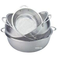 195mm/225mm/255mm/285mm Feinmaschigen Edelstahl Sieb Gemüse Sieb Einweichen Schüssel über die Waschbecken Waschen Korb