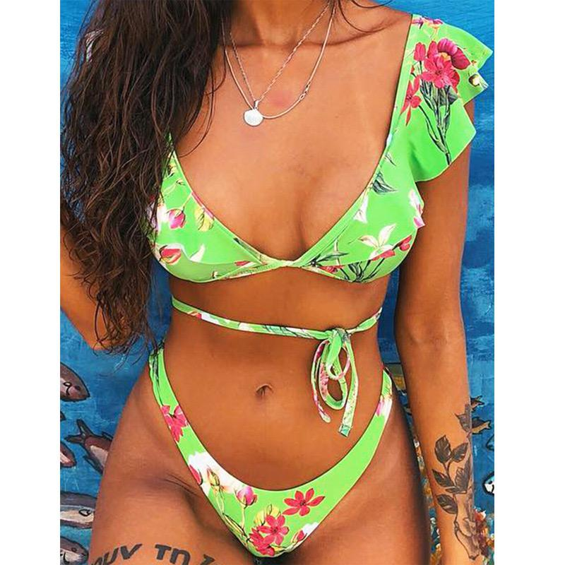 Rubylong 2019 Ruffles Bikini Women Sexy Vintage Swimsuit Brazilian Thong Bikini Set Female Retro Swimwear Push Up Bathing Suit