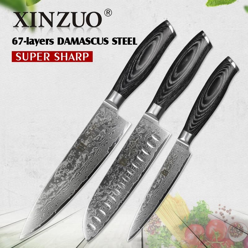 XINZUO 3 Stücke Küchenmesser Set 67 schichten High Carbon Damaskus Edelstahl 8 + 7 + 5 Chef Santoku Universalmesser Pakka Holzgriff