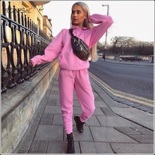 Casual Hoodies Sweatpants 2 Piece Sets Women Front Pockets Sweatshirt Loose Pencil Trousers Autumn Winter Solid Color Sport