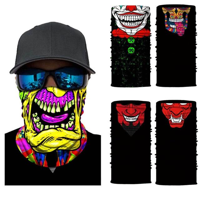 Seamless Skull Skeleton Joker Clown Balaclava Tube Motorcycle Neck Face Mask Scarf Bicycle Hunting Outdoor Ride Bandana Headband 1