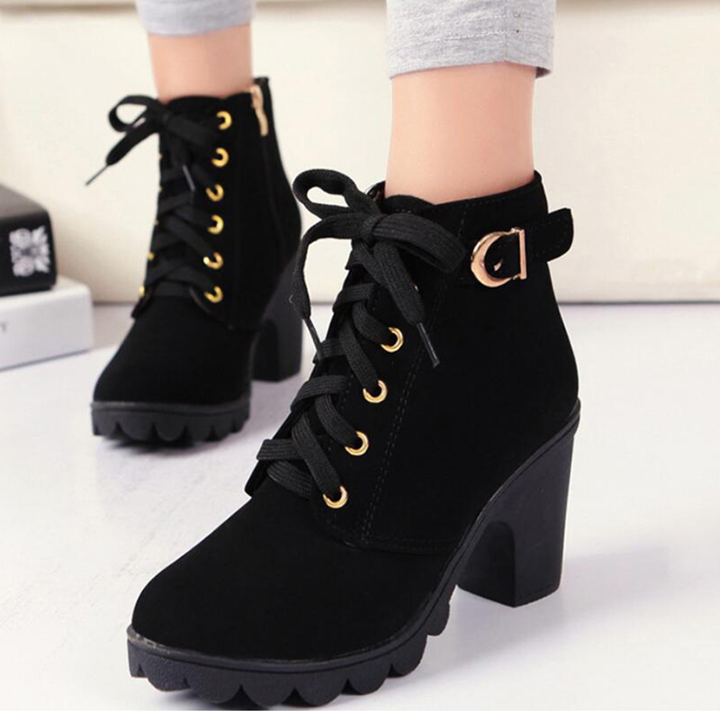 Buckle Zip 2018 New Autumn Women Lace Up Ankle Boots For Plus Size Ladies Fashion Platform Shoes Female Chunky High Heels trendy plus size zip up letter print slimming jeans for women