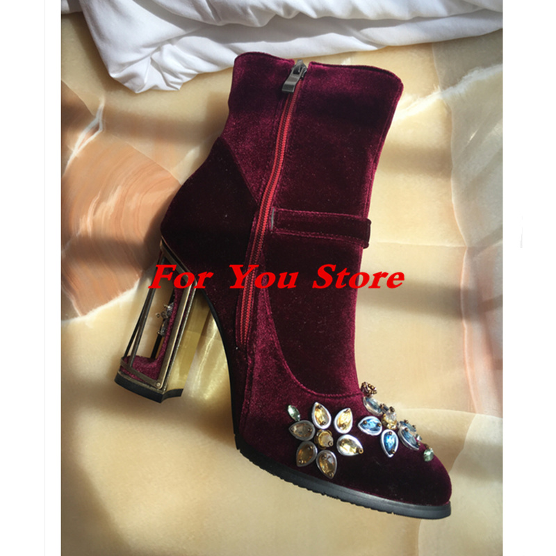 Hot Colorful Crystal Embellished Flower Pattern Women Boots High Heel Pointed Toe Luxury Brand Star Runway Shoes Short Booties yanicuding round toe women flock ankle booties metal short boots zip design luxury brand fashion runway star autumn shoes flats