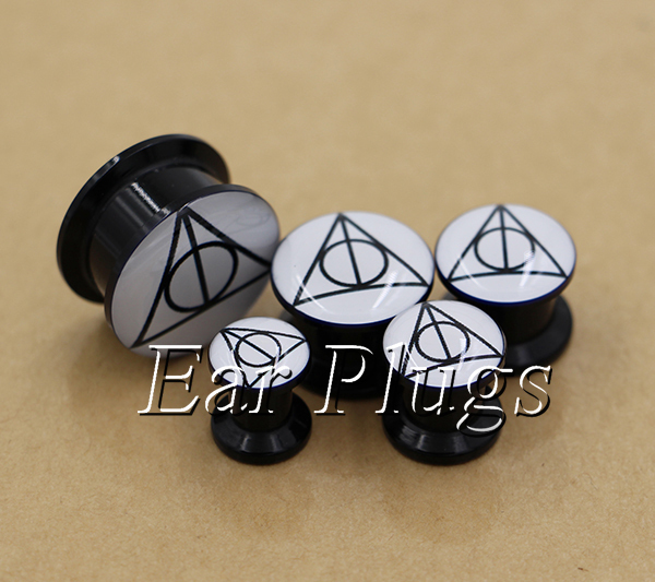 20pcs/set hallows logo ear plug gauges tunnel acrylic screw flesh tunnel body piercing jewelry TAP0246