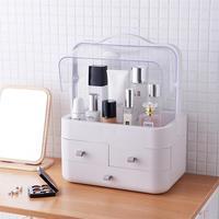 Korea Fashion Portable Makeup Organizer Box Brush Holder Jewelry Organizer Case Jewelry Makeup Cosmetic Shelf Storage Box Cover