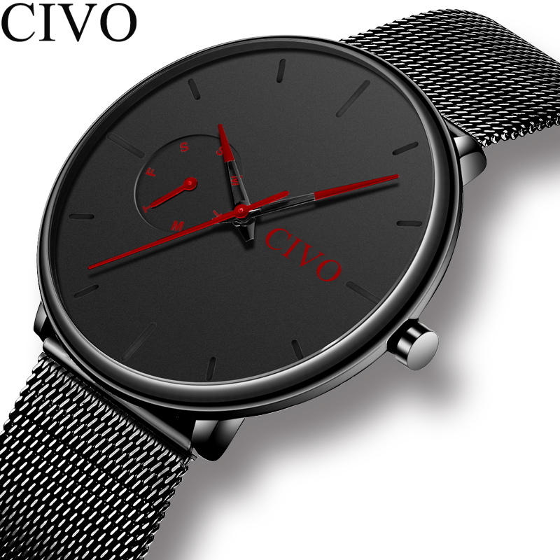CIVO Fashion Mens Watches Quartz Watch Men Waterproof Minimalist Ultra Thin Stainless Steel Mesh Wristwatch For