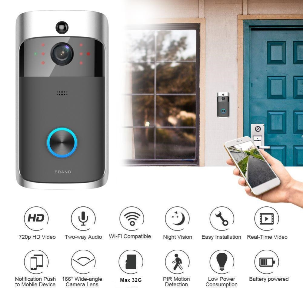 720P HD Wireless Video Doorbell WIFI Remote Intercom Detection Electronic Home Security Visible Monitor Night Vision Doorphone720P HD Wireless Video Doorbell WIFI Remote Intercom Detection Electronic Home Security Visible Monitor Night Vision Doorphone