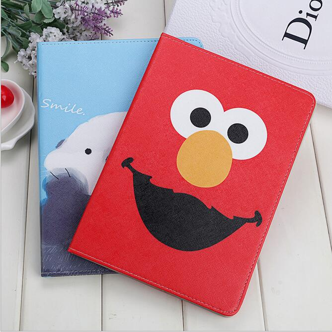 Case Cover For Apple iPad Air 2/iPad 6, Cartoon Big Mounth Bear PU Leather Flip Smart Stand Case for Ipad A1566 A1567 Protector for apple ipad air 2 pu leather case luxury silk pattern stand smart cover