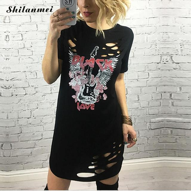 9291183ea0 2018 Punk Print Casual Summer Dress Short Sleeve O Neck Women s Sexy T  Shirt Dress Party Club Plus Size Dresses Mini Dress Robe