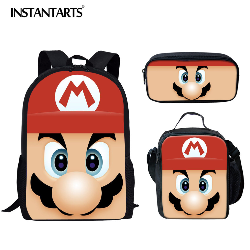 INSTANTARTS Super Mario Bros Backpack For Kid Girl Boy Cartoon Anime Schoolbag 3pcs Set School Backpack Escolar Infant Kids Bag
