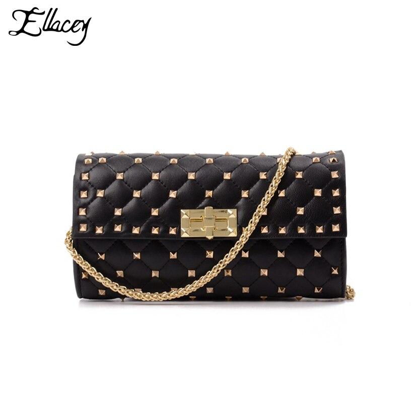 2018 Sheepskin Rivet Luxury Handbags Women Bags Designer Diamond Lattice Clutch Bag Genuine Leather Chain Crossbody Shoulder Bag цена