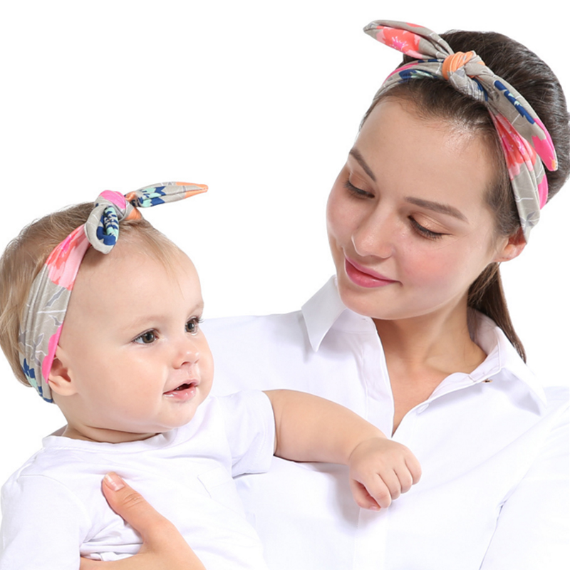 Considerate Fashion Hair Band Headband Mother Son Sets Headwear Rabbit Ear Printed Baby Head Accessory Child A029 For Sale Women's Hair Accessories