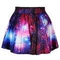 2016 verão nova moda feminina 3D saia colorida espaço Galaxy padrão impresso cintura alta saias curtas roupas de festa frete grátis