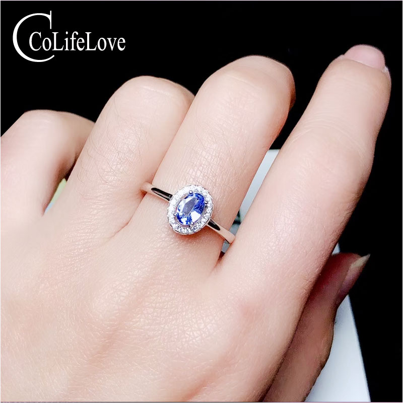 CoLife Jewelry 925 Silver Tanzanite Ring For Engagement 0.5ct Natural Tanzanite Silver Ring Sterling Silver Tanzanite Jewelry