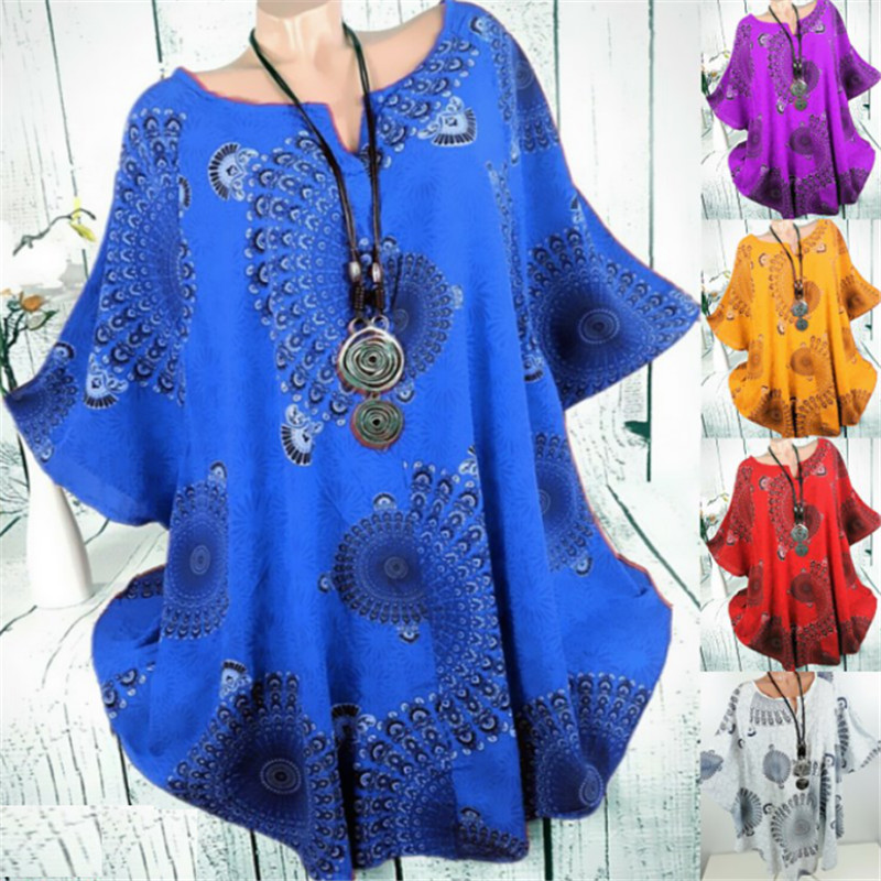 New women bat shirt V-neck Bat sleeve printing Loose Top T-shirt plus size tops