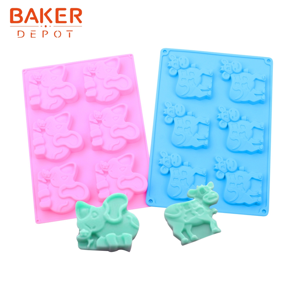 BAKER DEPOT cow shape silicone mold for candy chocolate elephant biscuit cake pastry baking form cake decorated ice soap mould