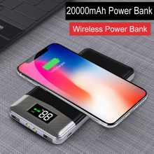 20000mAh External Battery Pack Power bank Portable Qi Wireless Charger Poverbank Phone Charger For iPhone X XR XS 8 Samsung S10