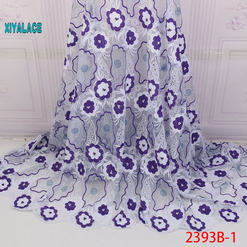 African Lace Fabric 2019 High Quality Nigerian Lace Fabrics Embroidery French Tulle Lace With Stones Fabric YA2393B-1